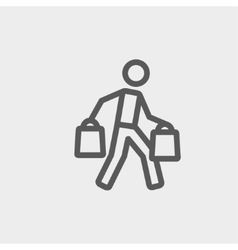 Man carrying shopping bags thin line icon vector