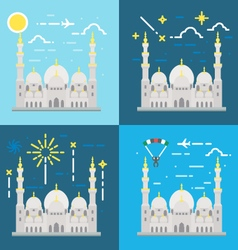 Flat design of sheikh zayed grand mosque abu dhabi vector