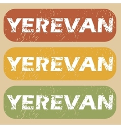 Vintage yerevan stamp set vector