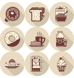 Morning breakfast brown icons set vector