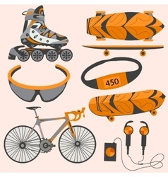 Sports equipment rollerblades skate bike vector
