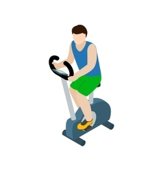 Man training on exercise bike icon isometric 3d vector