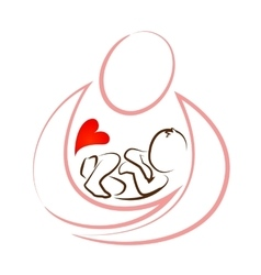 creative mother baby icon design concept vector image