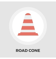 Road cone icon flat vector
