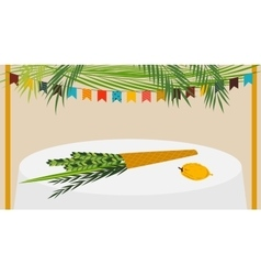 a Sukkah decorated with vector image
