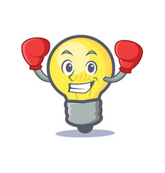 Boxing light bulb character cartoon vector