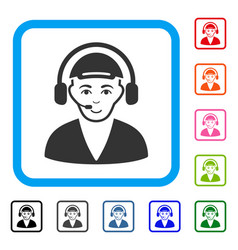Call center operator framed joyful icon vector