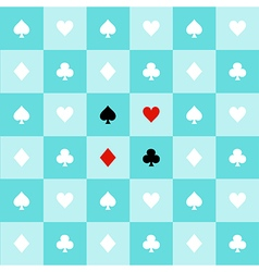 Card suits aqua green chess board background vector