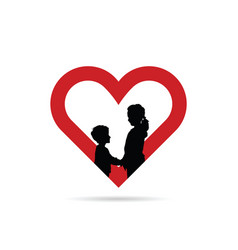 Children silhouette in red heart vector