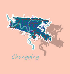 Chongqing city map simple flat concept for vector