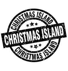 christmas island black round grunge stamp vector image
