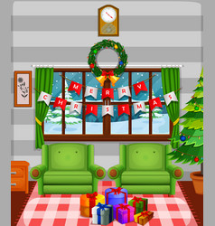 Christmas living room with a tree and fireplace vector