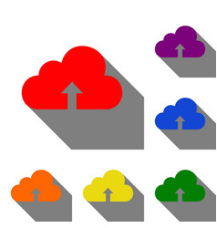 Cloud technology sign set of red orange yellow vector