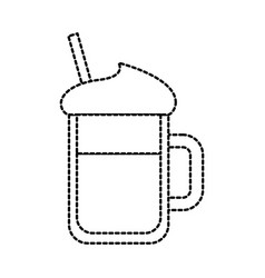 cold drink with whipped cream syrup straw in a vector image