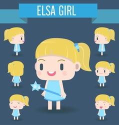 Cute character of elsa girl vector