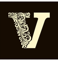 Elegant capital letter v in the style baroque vector