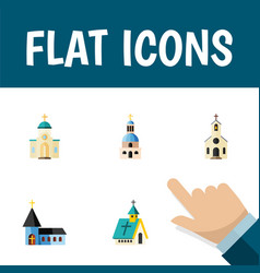 Flat icon church set of building church vector