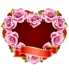 Framework pink roses vector image vector image