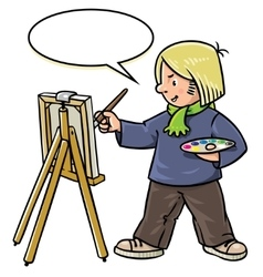 Funny artist or painter vector