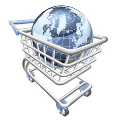 Globe shopping cart concept vector