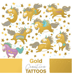 Golden set with cartoon unicorns vector