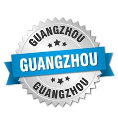 Guangzhou round silver badge with blue ribbon vector