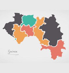 Guinea map with states and modern round shapes vector