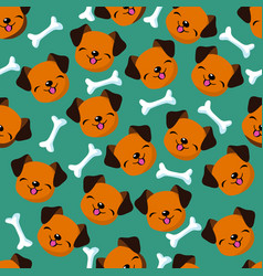 happy dog face seamless pattern vector image vector image