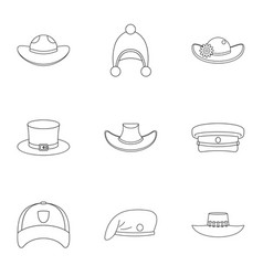 hat icon set outline style vector image