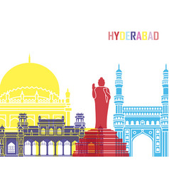 hyderabad skyline pop vector image