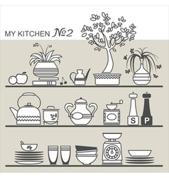 Kitchen utensils on shelves 2 vector image vector image