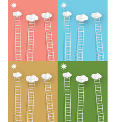 ladders with clouds vector image vector image