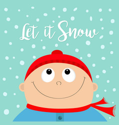 let it snow kid face looking up to snow baby boy vector image vector image