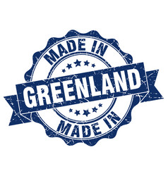 Made in greenland round seal vector
