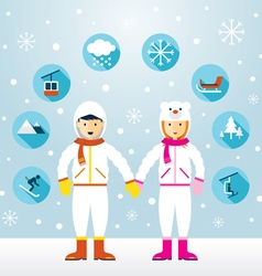 Man and woman in snowsuit with icons set vector
