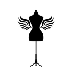 Mannequin silhouette with wings vector image vector image