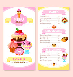 menu template for homemade pastry cakes vector image vector image