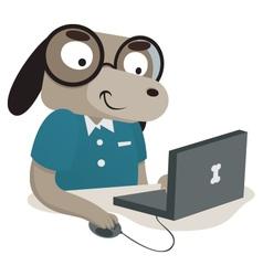 Nerd dog using a computer vector