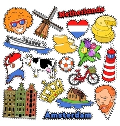 Netherlands Travel Stickers Patches Badges vector image vector image