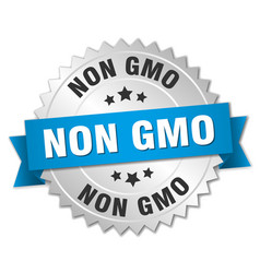 Non gmo 3d silver badge with blue ribbon vector