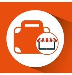 Online shop business suitcase design icon vector