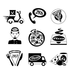Pizza icons set black and white vector image vector image