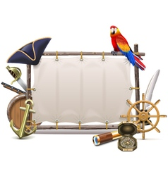 Seafaring Frame with Sail vector image vector image