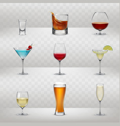Set of glasses for alcohol vector