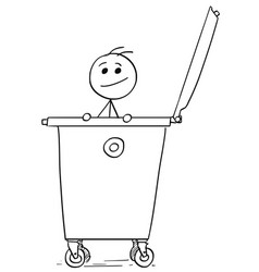 Smiling man poking out of the dumpster garbage vector