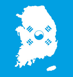 South korea map with flag icon white vector
