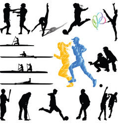 sport players from diferent sports silhouette vector image