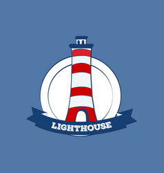 sticker or label with lighthouse silhouette vector image vector image