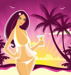 summer girl pink vector image vector image