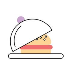 Tray with delicious burger vector
